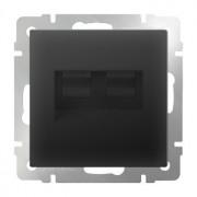 Компьютерная розетка двойная Ethernet RJ-45 Werkel черный матовый WL08-RJ45+RJ45