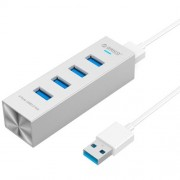 ORICO ASH4-U3 Aluminum High Speed 4 Ports USB 3.0 HUB for Laptops(Silver)