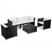 vidaXL Градински комплект с възглавници, 6 части, черен полиратан