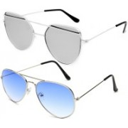 GreatDio Cat-eye, Aviator Sunglasses(Silver, Blue)