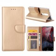 Luxe Lederen Bookcase hoesje voor de Nokia 6.1 Plus - Goud