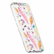 Husa Silicon Transparent Slim Happy Feathers Apple iPhone 5 5S SE