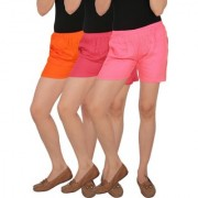 Culture the Dignity Women's Solid Rayon Shorts With Side Pockets Combo of 3 - Orange - Pink - Baby Pink - C_RSHT_OPP2 - Pack of 3 - Free Size