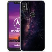 Motorola One Hoesje Black Space Marble