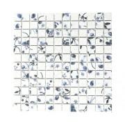 Mozaic ceramic CG SB09, model flori/fructe, alb/albastru 30x30 cm