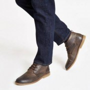 River Island Mens Brown leather desert boots