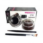 LA' Facon's Music Flower Eye Makeup 2 in 1 Brown + Black Gel Eyeliner Make Up Water-proof Smudge-proof Set Eye Liner Kit