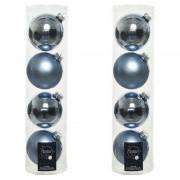 Decoris 8x Lichtblauwe glazen kerstballen 10 cm glans en mat - Kerstbal