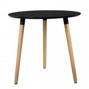 [en.casa]® Mesa de comedor redonda negra [A:75cmxØ80cm] madera mesa de cocina estilo retro