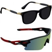 Zyaden Wayfarer, Wrap-around Sunglasses(Black, Multicolor)