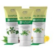 Pachet PROMO Sampon, Gel Intim si Gel Dus cu Bicarbonat si extracte naturale din plante, 200+200+200 ml