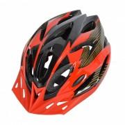 18 Vents PC + EPS casco de bicicleta con visera para el ciclismo Negro + rojo