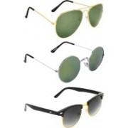 Zyaden Aviator, Round, Clubmaster Sunglasses(Green, Multicolor, Black)