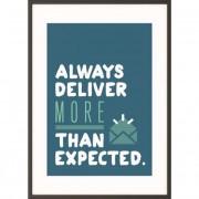 Falikép, motivációs, A4, fekete keret, PAPERFLOW \Always deliver more than expected\