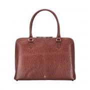 Damen Mock Croc Leder Aktentasche in Braun - Dokumententasche, Aktenkoffer, Businesstasche, Laptoptasche