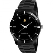 Golden Bell Original Black Dial Black Steel Chain Analog Wrist Watch for Men - GB-1093