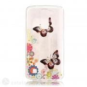 Полупрозрачен силиконов калъф за LG K8 - пеперуди