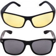 Criba Wayfarer, Retro Square Sunglasses(Black, Yellow)