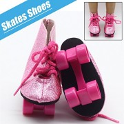Tradico® Pink Roller Skates Shoes Adorable Skating Shoes for 18'' inch American Girl