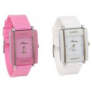TRUE CHOICE Kawa Combo Of Two Watches-Baby Pink White Rectangular Dial Kawa Watch For Women