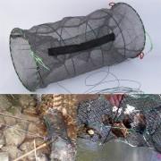 EH Engranaje de secado rápido al rayado tela jaula de cangrejo jaula para peces 25 * 47cm-Negro Verde