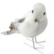 Bellatio Decorations Witte vogel met glitters12 cm type 1