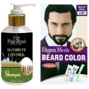 Pink Root Dandruff Control Shampoo With Bigen Men's Beard Color B101 Natural Black