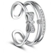 Cubic Zirconia Korean vogue double layer bow sweet open Adjustable ring For Women & Girls