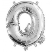 Stylewell 16 Inch Alphabet (Q) Soild (Silver) Color 3D Foil Balloons For Birthday And Anniversary Parties Decoration