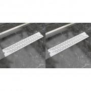 vidaXL 2db lineáris rozsdamentes acél hullám zuhany lefolyó 630x140mm