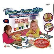 Montoy Paint Your Own 12 Piece Jigsaw Puzzle With 6 Watercolor Paints And 2 Brushes For Kids Early Childhood Fun Entertainment Coloring Craft.