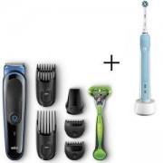 Комплект Тример за лице и коса Braun MGK3040, 7 в 1 + Самобръсначка Gillette + Електрическа четка за зъби Oral-B CrossAction PRO 600