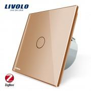 Intrerupator simplu cu touch Livolo din sticla - protocol ZigBee, auriu