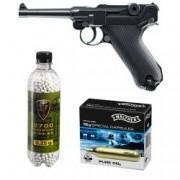 Set pistol airsoft 2 jouli + 10 capsule CO2 + flacon 2700 buc bile 0.25 grame Umarex Legend P08 full metal