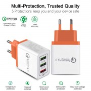 USB HOME CHARGER, MLLSE 3-Ports Quick Charger 3.0 USB Charger for iPhone iPad Samsung Xiaomi Mobile Phones
