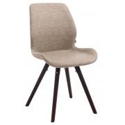 CLP Silla de visita Perth: tapizado de polipiel, soporte color cappuccino, patas redondas, gris claro gris claro, altura del asiento