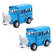 Cecileie 2Pcs 1:36 School Bus Mini Alloy Diecast Pull Back Car Model Toy for Kid Boys Car Collection Toys Little Vehicle Birthday Gift