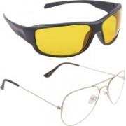 Poloport Wrap-around, Aviator Sunglasses(Yellow, Clear)