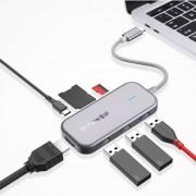 Adaptor HUB 7 in 1 USB-C, Blitzwolf BW-TH5, 3xUSB 3.0, HDMI, USB-C PD, SD, microSD