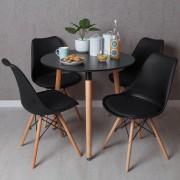 Conjunto Mesa Tower Redonda 80 cm Preta e Pack 4 Cadeiras Tilsen - Preto