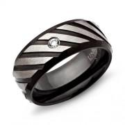 Unique Ring Edelstahl geschwärzt 8mm Zirkonia