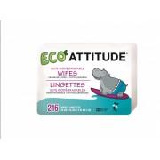 Servetele bio umede pentru bebelusi 100 % biodegradabile rezerve Attitude 216 buc
