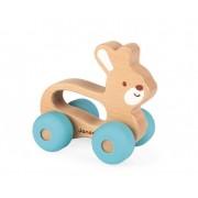 JANOD Drewniany Królik pojazd Baby Pop - pierwsze autko dla niemowląt, małych dzieci 12m+,
