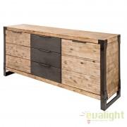Comoda design industrial din lemn masiv si suport metalic robust Factory A-36771 VC