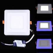 3w + 3w Voltaje De Aislamiento Ancho Dos Colores (blanco + Azul) Cuadrado Led Panel De Luz Doble Pared Lampara De Techo Con 3 Modo De Luminiscencia, Ac 100-265v, Tamaño: 100 X 100 X 8 Mm