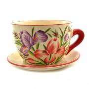 Ghiveci de flori din ceramica cu lalele mov si rosii