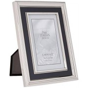 Lawrence Frames 840146 Silver Plated Metal Picture Frame, Satin Black Inner Panel, 4 by 6 Inch