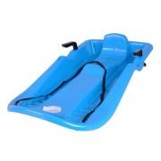 Sanie plastic cu frana, scaun cu spatar, design ergonomic, Albastru