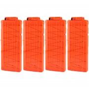 4pcs Clips De Bala Suaves 12 Balas Para Nerf N-strike Pistola Juguete - Naranja