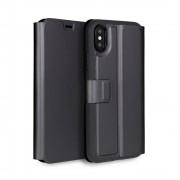 Torrii Gemini Case - двулицев кожен калъф, тип портфейл за iPhone XS, iPhone X (черен)